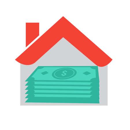 Casa, préstamo, dinero, bienes raíces icono vector de imagen. También puede ser utilizado para banca, finanzas, negocios. Adecuado para aplicaciones web, aplicaciones móviles y medios impresos.