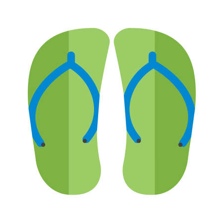 Green slippers or thong sandals. Vector illustration. Çizim