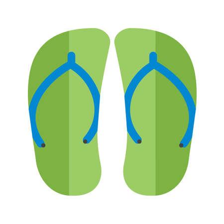 Green slippers or thong sandals. Vector illustration. Illustration