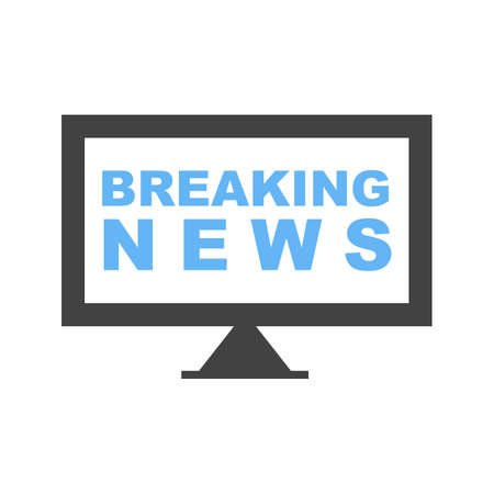 Breaking News on tv icon illustration on white background.