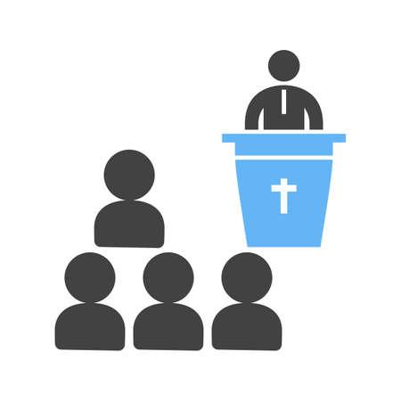 Funeral sermon icon illustration on white background. Illustration