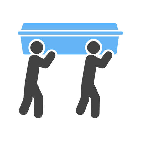 Carrying casket icon illustration on white background.