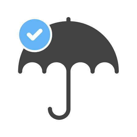 Reliability concept with umbrella and check mark