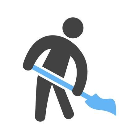 Man Sweeping Floor Vector illustration isolated on white background. Vettoriali