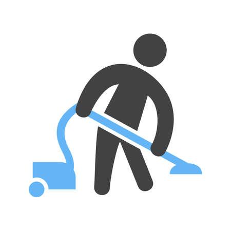 Man Doing Vacuum Vector illustration isolated on white background.