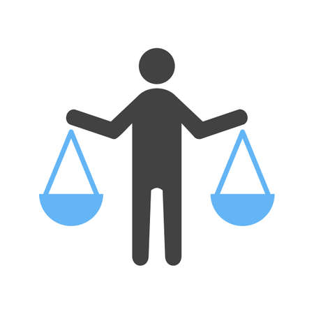 Icon of a person holding balance. Shows how ethics is frequently about weighing the pros and cons between both sides.