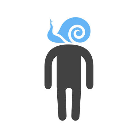 man silhouette with a snail for a head, Vector illustration isolated on white background.