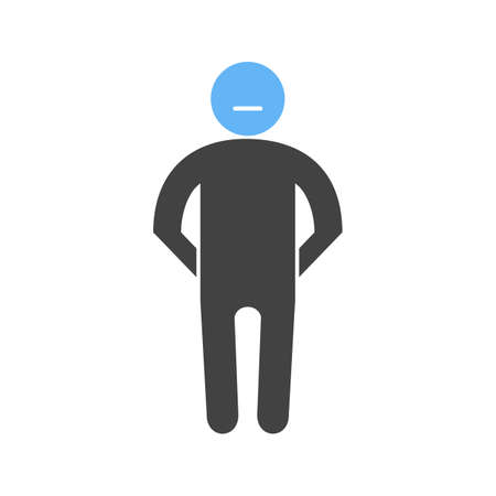 man silhouette with a blue circle for a head, Vector illustration isolated on white background.