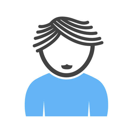 Boy with Wavy Hair Vettoriali