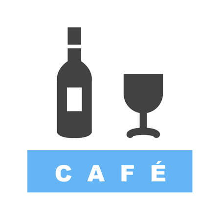 Drinks Cafe icon with wine