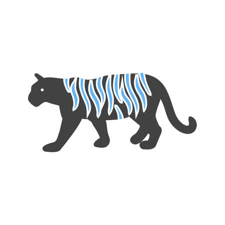 Illustration of a tiger isolated on a plain background. Vectores