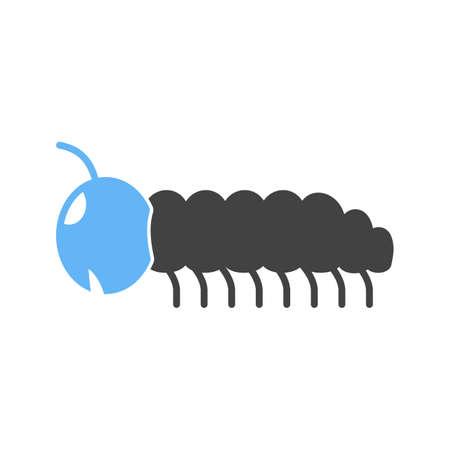 Caterpillar or larva illustration with blue head