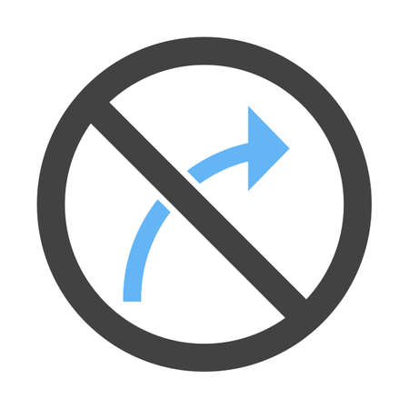 No right turn icon. Vectores