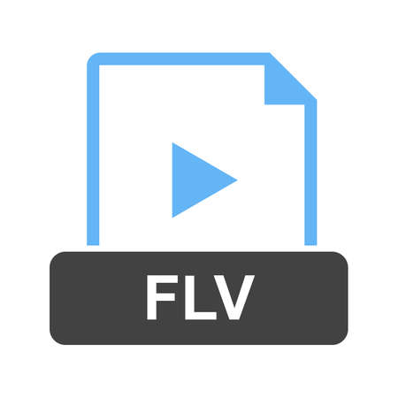 FLV, file, document icon vector image. Can also be used for file format, design and storage.