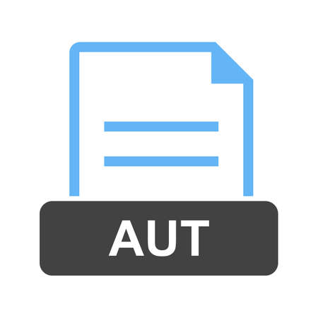 AUT, file, file extension icon vector image. Can also be used for file format, design and storage. Ilustrace