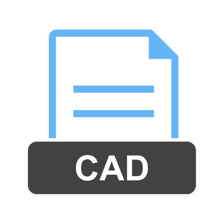 CAD, file, file extension icon vector image. Can also be used for file format, design and storage.