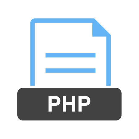 PHP, web, programming on white background, vector illustration.