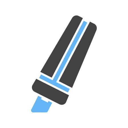 Marker, hand, highlighter on white background, vector illustration.