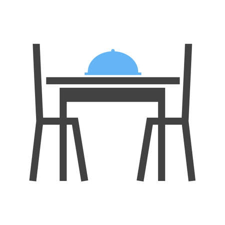 dining table and chairs, vector illustration isolated on white background.