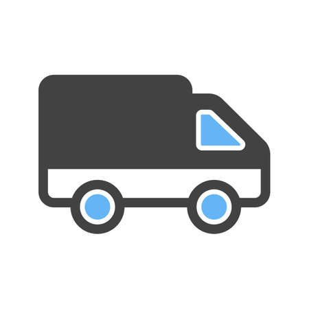 Toy truck icon on white background, vector illustration.