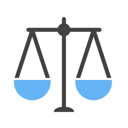 Balance, scale, law on white background, vector illustration.