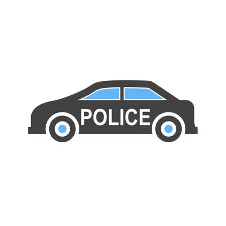 Police car icon on white background, vector illustration.