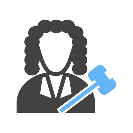 Judge icon on white background, vector illustration.