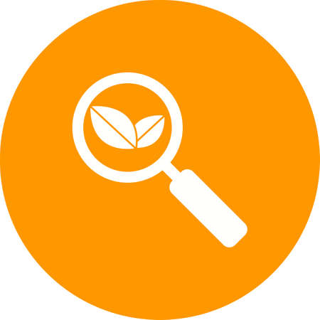 Organic Search , explore icon with magnifying glass and leaves Ilustrace