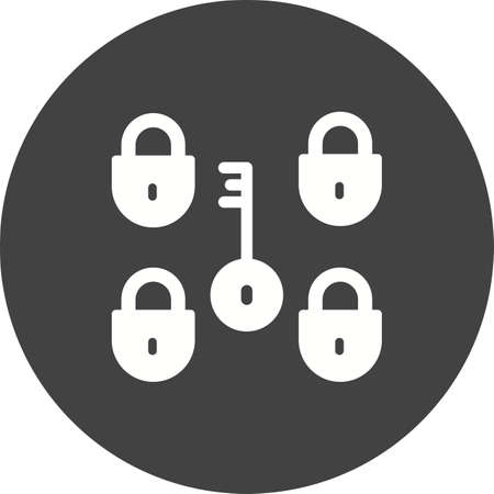 Security icon with multiple locks and one key