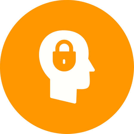 Confidentiality icon ,with man with lock in mind Illustration