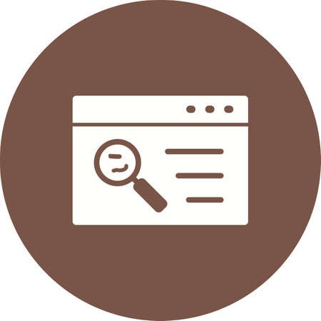 Quality Assurance icon with web and magnifying glass