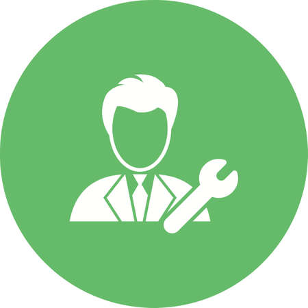 Technical Support icon with man and wrench Illustration
