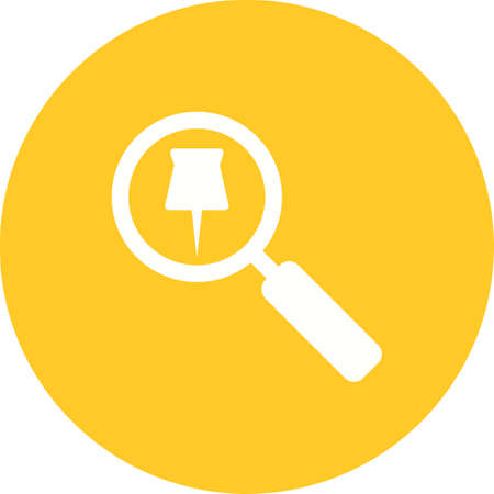 Tracking Services icon with magnifying glass and pin