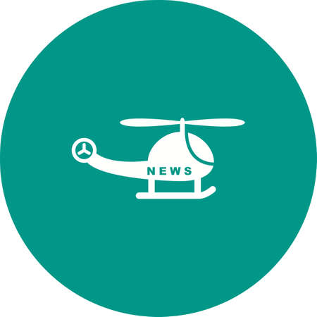 News Helicopter icon on green circle background.