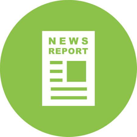 News Report icon on green background. Stock Illustratie
