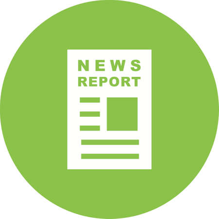 News Report icon on green background. Illustration