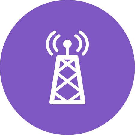 Satellite tower on white illustration on purple background.
