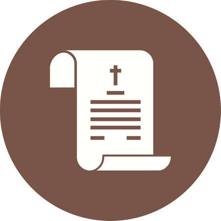 Paper with cross on white illustration on brown circle background.