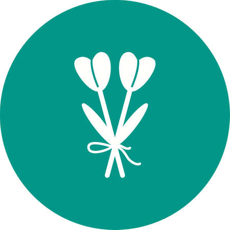 緑の背景に白いイラストに結ばれた2つの茎の花。  イラスト・ベクター素材