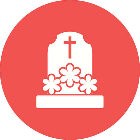 Grave with Flowers icon on white illustration on red circle background.