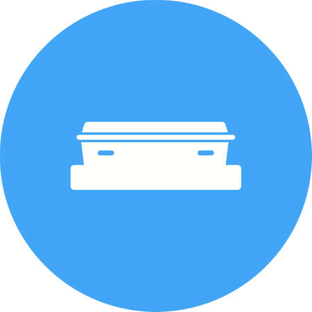 Coffin wood, funeral icon isolated on white