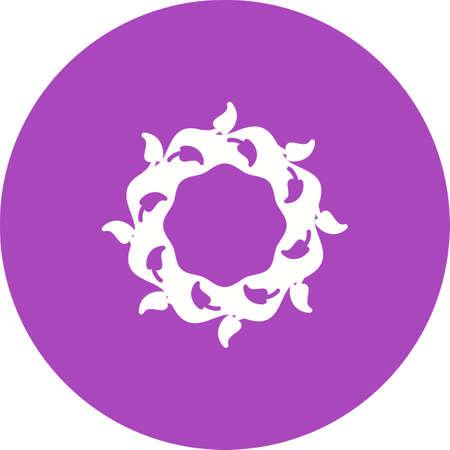 花輪、白い背景に孤立した花のアイコン