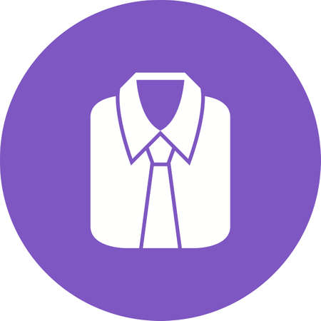 Formal shirt icon in violet circle on white background.