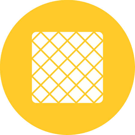 Scrubbing cloth icon in yellow circle on white background.