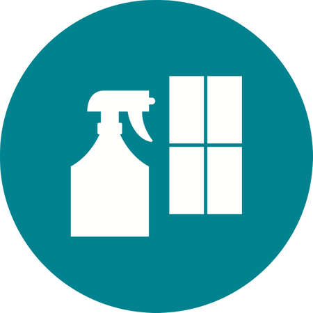 Window cleaning Agent in blue circle on white background. Illustration