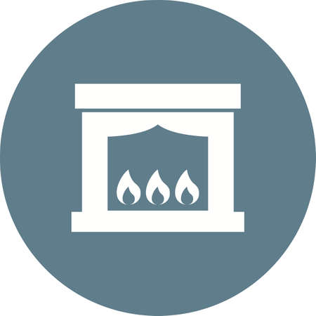 Electric Fireplace icon Illustration