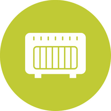 Gas heater icon in yellow circle on white background.