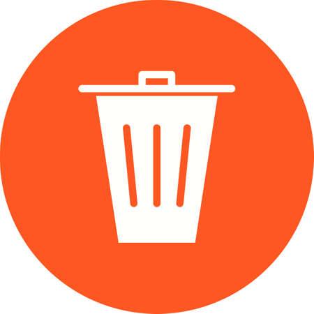 白い背景にオレンジ色の円を囲むゴミ箱の罪のアイコン。