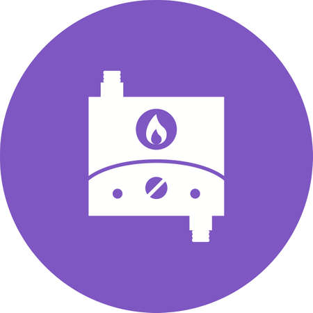 Tank less Water heater in violet in purple circle on white background.