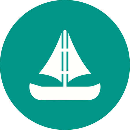 Small Boat icon in green circle on white background.